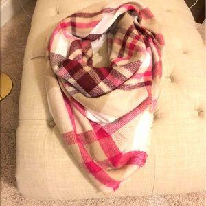 Pink + Tan Blanket Scarf